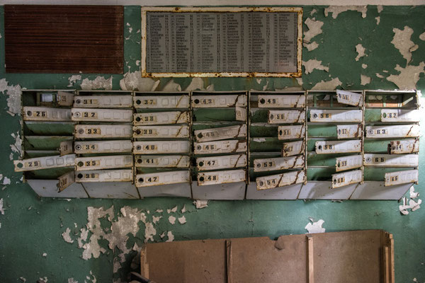 Mailboxes of an abandoned building in the city of Pripyat.