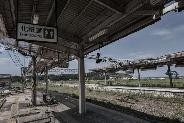 """Train station devastated by the Tsunami, Tomioka city, Fukushima """"No-Go Zone"""", Japan."""