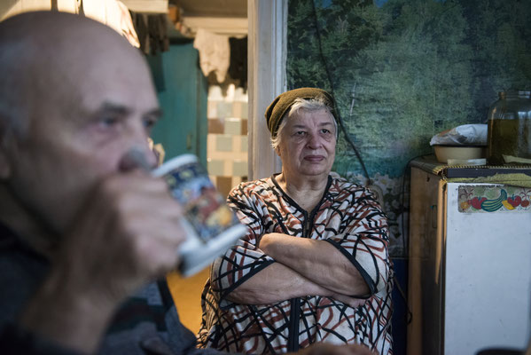 Viktor Petrovich Lukanjenko, 75, with his wife, Liudmilla Nikolajevna, 75 years old in their home in the village of Marianovka, where 40 elderly people currently live. Marianovka, Chernobyl Exclusion Zone