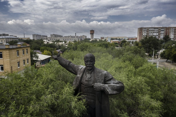 The statue of Lenin in the city of Semey, the former Semipalatinsk. The city has 300 thousand inhabitants and it is situated 100 km from the center of polygon and was heavily contaminated by radioactive particles taken by the winds during the atomic test.