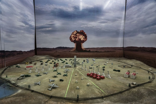 A model reproducing the site of the Semipalatinsk nuclear tests in the museum of the Institute of Radiation Protection and Ecology in Kurchatov.