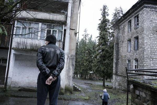 Children in the semi abandoned village of  Dzhantukha