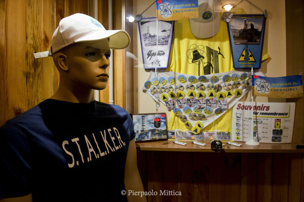 Gadgets for tourists inside the hotel, Chernobyl city, the exclusion zone