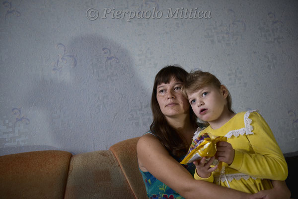 Marina and her daughter Milana who has the Angleman syndrome, a genetic disease. Kysthym