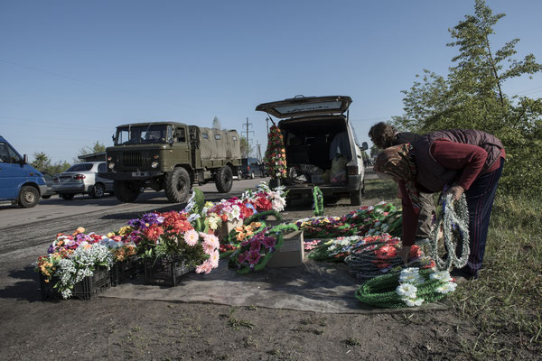 A flower shop before the Chernobyl Exclusion Zone checkpoint.