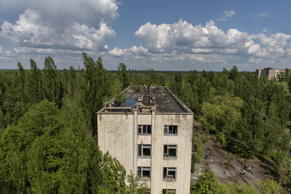 The abandoned city of Pripyat overrun by nature.