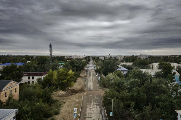 The road that bring to the polygon from the town of Kurchatov. At the end of this road the polygon starts. From Kurchatov the inhabitants could see the atomic explosions.