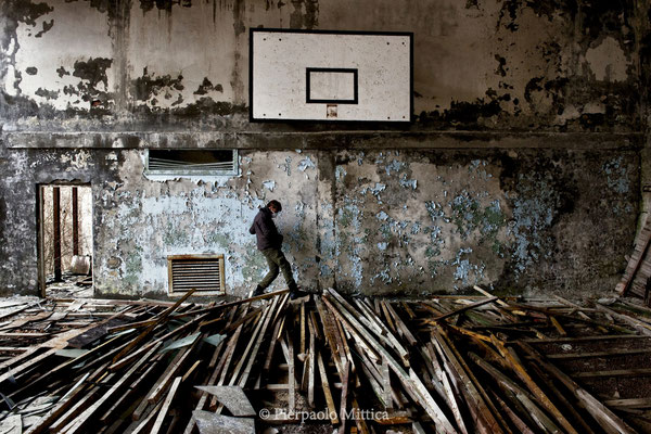 Exploring the swimming pool gym, Pripyat, exclusion zone