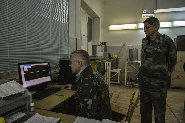 The scientific laboratories in the city of Chernobyl. Laboratory technicians work on samples collected from the area.