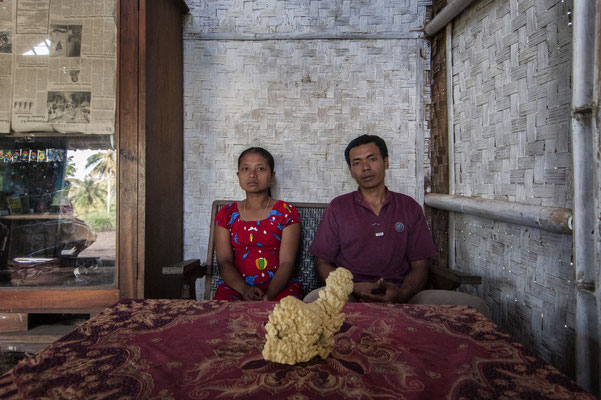Saekoni with his wife at home, he lives in Kluncing village