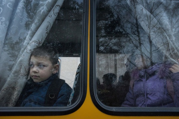 Igor going home from school with the school bus. Radinka
