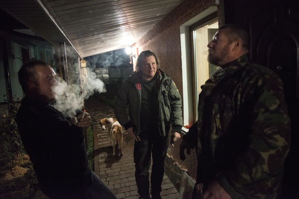 Chernobyl town, Yuriy, Valeri and Serhiy meet up sometimes at Serhiy's house to spend the evening together.