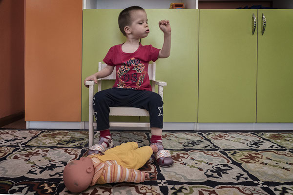 Okhtyanova Renata, 4 years old. organic lesion of the central nervous system. Orphanage for handicapped children, Semey.