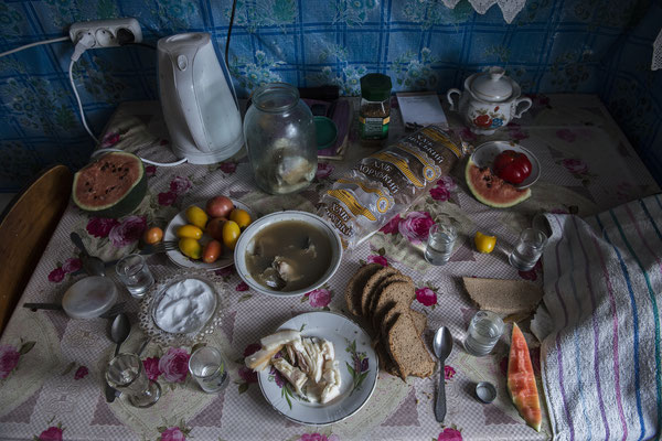 Table ready for lunch in the house of Hanna Zavorotnya, Kupovate, Chernobyl Exclusion Zone