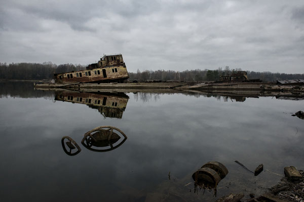 Sunk ships in the Chernobyl river port. Chernobyl Exclusion Zone.