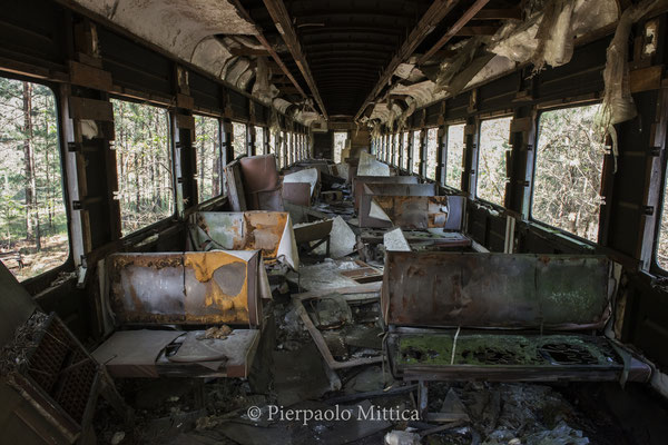 What remains of a dismantled train after the metallists collected metals to be recycled