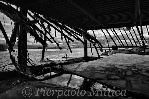 Warehouse devastated by the tsunami, Soma port