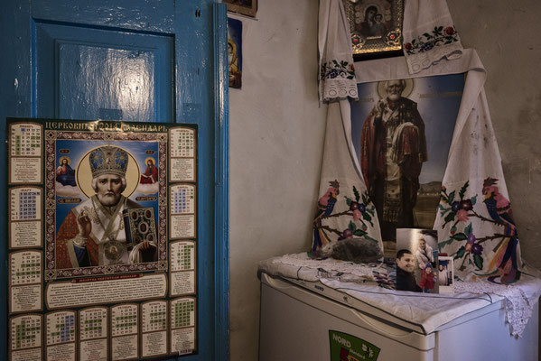 Religious relics in the house of Maria Shovkuta, Opachichi, Chernobyl Exclusion Zone