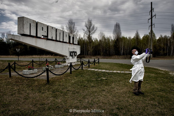 Selfie in front of the stele of Pripyat, exclusion zone