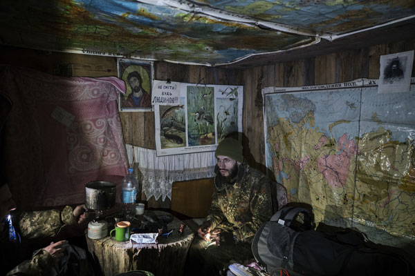 Jimmy in the of the houses of the foresters on their way to Pripyat. Stalkers often use these cabins, used by foresters during the day and empty at night. Here stalkers rest, sleep and leave very early, before foresters come on duty.