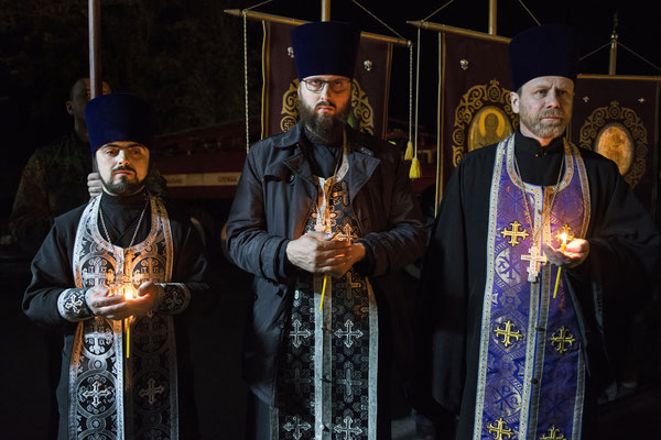 A moment to commemorate the anniversary of the nuclear disaster. The commemoration ceremony is held every year on 26 April, in the main square of Chernobyl and culminates with a orthodox mass in memory of the victims.