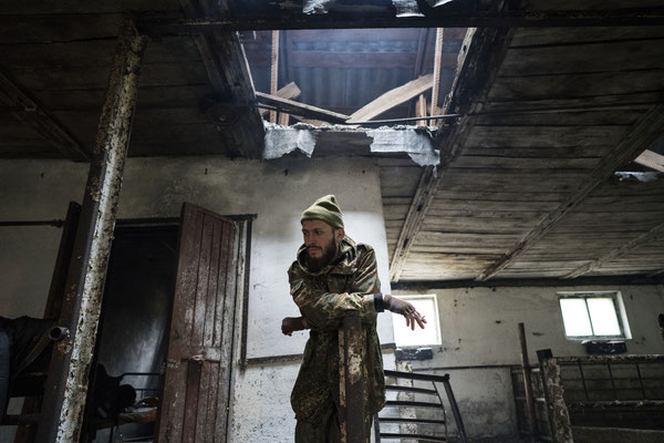 Jimmy having a break in the abandoned pig-shed before leaving for Pripyat.