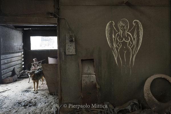 graffiti all'interno del magazzino per il riciclo dei metalli radioattivi