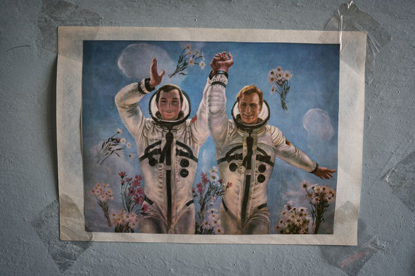 An old USSR poster hanged on Jimmy's apartment showing USSR astronaut Valery Bykovsky and his GDR colleague Sigmund Jähn, who went together for the Soyuz 31 mission in 1978