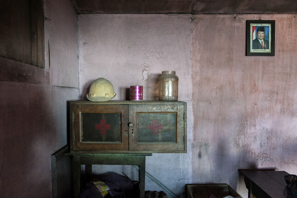 medical kit in a barrack located on the way to the top of the volcano