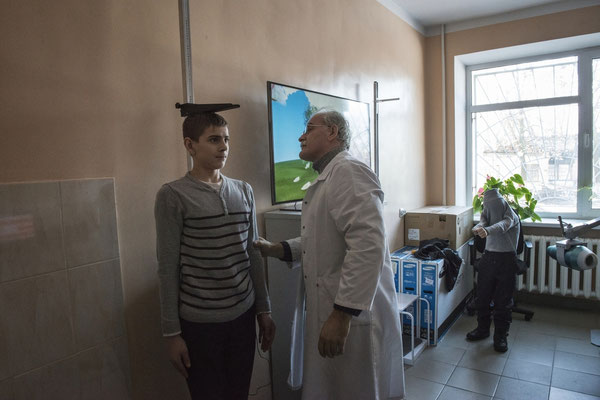 Viktor 12 years old while being examined by Professor Bandazhevsky's team in the Ivankiv hospital. Ivankiv.