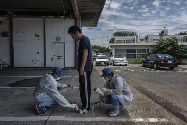 Once returned from the exclusion zone, residents are checked for contamination, Sousou Health Center, Minamisoma