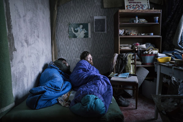 Sasha and Maxim waking up in their apartment in the ghost town of Pripyat.