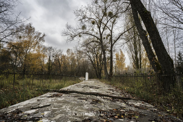 the monument of the Holocaust mass grave in Chernobyl city where 400 jews were shot during the Holocaust