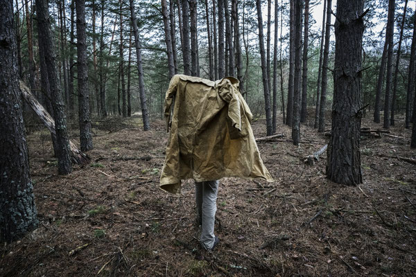 Sasha walking in the contaminated forest of the Chernobyl exclusion zone, on the way to the ghost town of Pripyat