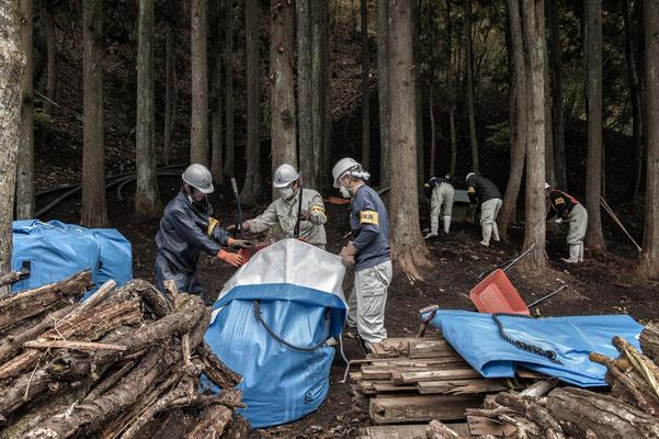 Decontamination works Fukushima No-Go Zone.