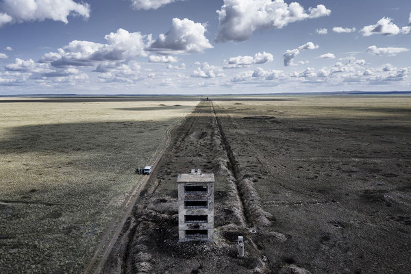Buildings inside the polygon that were used to test the atomic explosions. Polygon, Kazakhstan Inside the polygon huge buildings were erected to test the effects of atomic bombs and to protect cameras to document the explosions