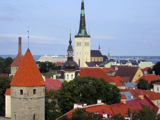 über den Dächern von Tallin, im Hintergrund ein Kreuzfahrtschiff