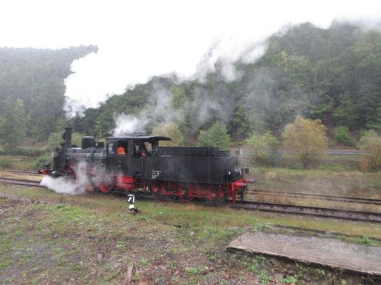 Zufällige Begegnung mit einer Dampflock bei Elmstein im Pfälzer Wald