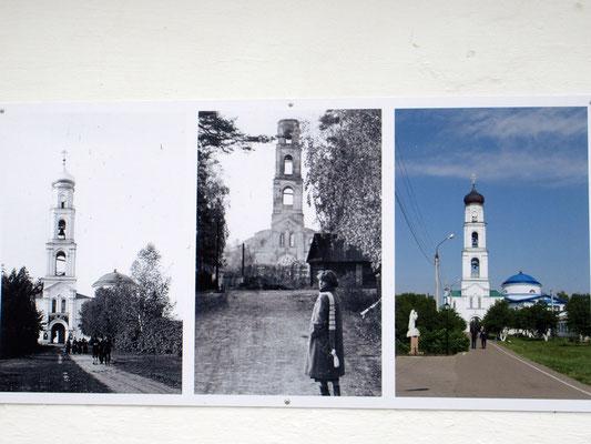 Das Marienkloster, wie die meisten Heiligtümer, wurde nach 1991 rekonstruiert. Fotos vor, in, und nach der Sowjetzeit
