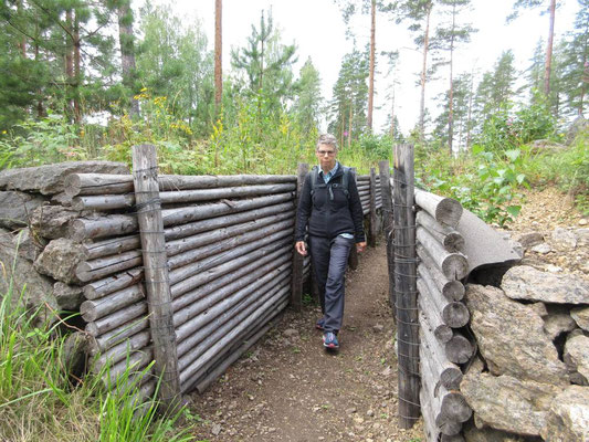 Freilicht-Museum über die Verteidigungsgräben an der Finnischen Ostgrenze