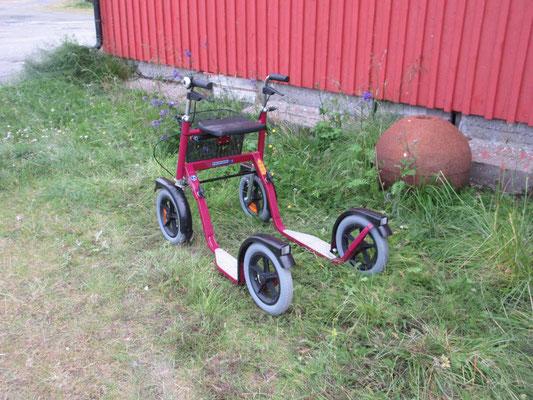 In Norwegen sind die älteren Menschen oft mit den Rollator-Trottinett unterwegs