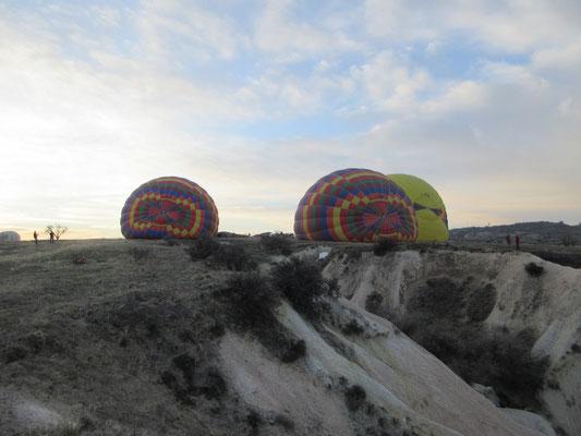 Das aufblasen der Ballone