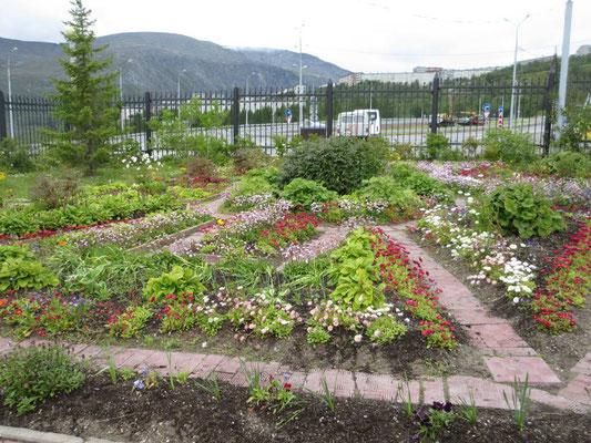 Liebevoll gepflegter Garten vor der Kirche nördlich des Polarkreises