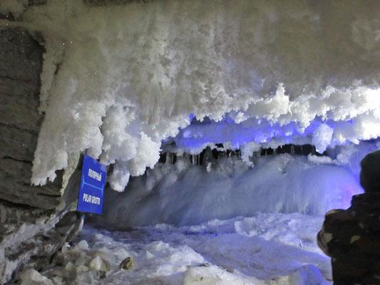 Im ersten Teil der Grotten von Kungur hat sich durch die Luft von Aussen Eis gebildet