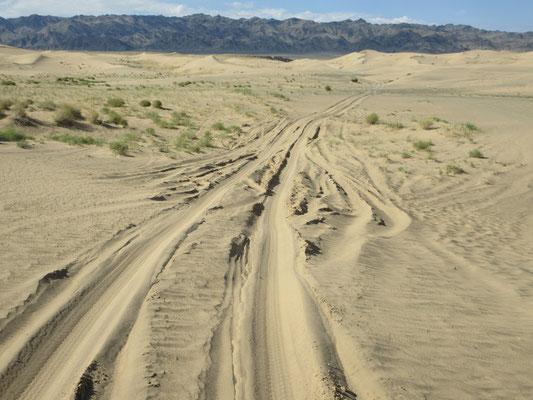 Es gibt eine Piste durch die Sanddünen ohne grossen Höhenunterschied