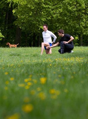 Laufen und Stretching