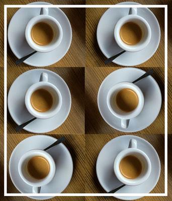 """""""Bild:""""Espresso Bandits - Kaffee Catering fuer Messen - sechs Espresso Tassen von oben als Collage"""