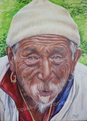 Mann aus Nepal in Acryl auf Leinwand