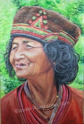 Frau aus Nepal in Acryl auf Leinwand