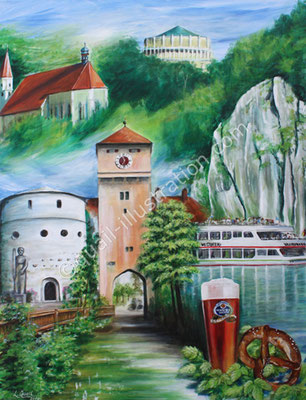 Collage of the town Kelheim in acrylic on canvas